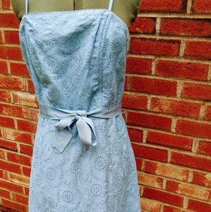 Kenar Sky Blue Linen Eyelet Strapless Dress 8